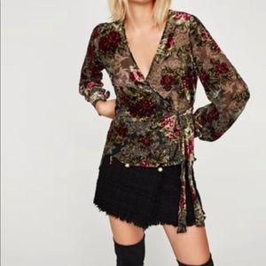 Zara Woman Zara Devore Velvet Wrap Blouse NWOT